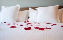 День валентинки Святого, белая большая кровать с лепестками розы Стоковая Фотография