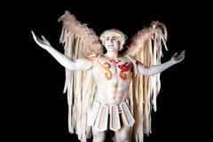 День валентинки, человек купидона с арфой Стоковые Фотографии RF