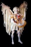 День валентинки, человек купидона с арфой Стоковая Фотография