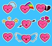 День валентинки s смешного значка смайлика сердца установленный Стоковое Изображение