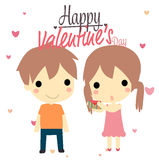 День валентинок мальчика и девушки Стоковое Фото