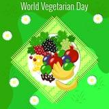 День вегетарианца мира Пикник плодоовощ - трава, скатерть, плита, цветки, яблоко, гранатовое дерево, даты, виноградины, банан, см Стоковое фото RF