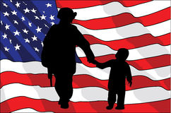 День ветеранов Американский солдат и ребенок американский флаг также вектор иллюстрации притяжки corel Стоковое фото RF
