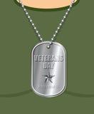 День ветеранов Воинский медальон от солдата в шеи воины стоковое фото rf
