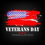 День ветеранов с предпосылкой флага США Дизайн плаката Дня памяти погибших в войнах Удостаивающ всех которые служили иллюстрация вектора