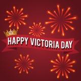 День Виктории Крона золота и поздравительная надпись также вектор иллюстрации притяжки corel Стоковая Фотография