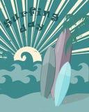 День винтажного плоского плаката международный занимаясь серфингом иллюстрация штока