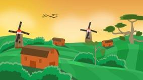 День в поле с фермами и мельницами акции видеоматериалы