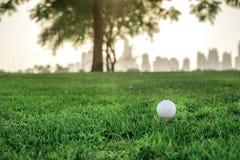 День гольфа Шар для игры в гольф на тройнике для шара для игры в гольф на gree Стоковое Изображение