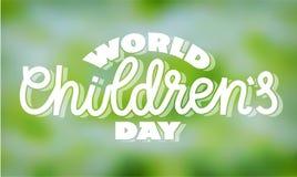 День детей мира - текст в рук-литерности иллюстрация штока