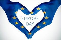 День Европы сердца и текста Стоковое Изображение RF