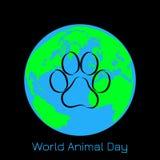 День животного мира 4-ое октября Концепция экологического праздника Животная земля следа и планеты Стоковое Фото