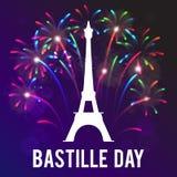День захвата Бастилии Иллюстрация вектора на праздник Стоковые Изображения