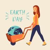 День земли, женщина с вектором колеса кургана бесплатная иллюстрация