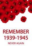 День иллюстрации памяти и примирения Плакат 1939-1945 Второй Мировой Войны Стоковое фото RF