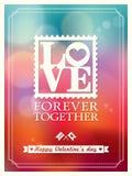 День и свадьба валентинки ЛЮБЯТ предпосылку Bokeh слова иллюстрация вектора