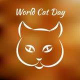 День кота мира Концепция экологического праздника Сторона кота Линия чертеж Стоковое фото RF