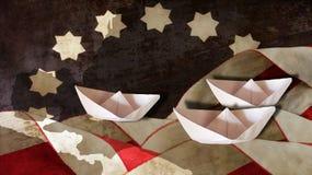 День Колумбуса Флаг развевает диаграмма и шлюпки Стоковое Изображение
