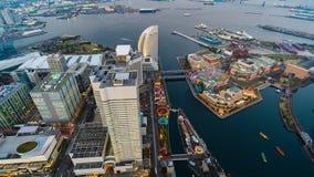 День к упущению nighttime гавани Иокогама на районе Minato Mirai, Японии акции видеоматериалы