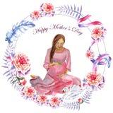 День матери поздравительной открытки акварели покрашенный вручную счастливый стоковые изображения rf
