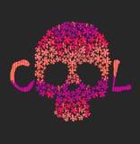 День мертвого красочного черепа с флористическим орнаментом иллюстрация штока