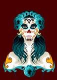 День мертвой иллюстрации портрета женщины Стоковое Изображение RF