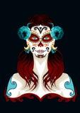 День мертвой иллюстрации портрета женщины Стоковые Изображения
