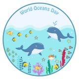 День Мирового океана Изображение шаржа Стоковое Изображение