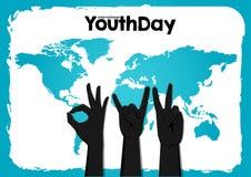 День молодости вектора запаса международный, руки круга 12-ое августа вверх на предпосылке карты мира голубой иллюстрация вектора
