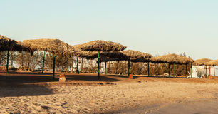 День на зонтиках соломы пляжа и loungers солнца Стоковое фото RF
