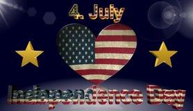 День независимости, американский флаг, значок, знак, самая лучшая иллюстрация 3D Стоковая Фотография