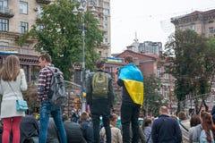 День независимости в улице Khreshchatyk в Kyiv, Украине Выставка воинского оборудования редакционо 08 24 2017 Стоковые Фотографии RF