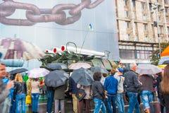 День независимости в улице Khreshchatyk в Kyiv, Украине Выставка воинского оборудования редакционо 08 24 2017 Стоковые Изображения
