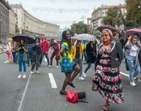 День независимости в улице Khreshchatyk в Kyiv, Украине редакционо 08 24 2017 Стоковые Изображения RF