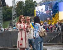 День независимости в улице Khreshchatyk в Kyiv, Украине редакционо 08 24 2017 Стоковое Фото