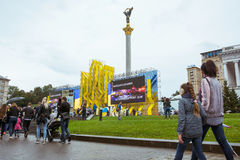 День независимости в улице Khreshchatyk в Kyiv, Украине редакционо 08 24 2017 Стоковое Изображение
