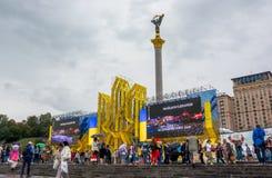 День независимости в улице Khreshchatyk в Kyiv, Украине редакционо 08 24 2017 стоковые изображения