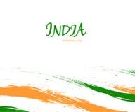 День независимости знака акварели Индии на белой предпосылке с флагом в национальном цвете Индийский цвет соотечественника 3 иллюстрация вектора