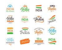 День независимости Индии Комплект Handmade шаблонов логотипа литерности большой Стоковая Фотография