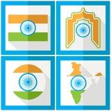 День независимости Индии пятнадцатый из августовского комплекта значков в плоском стиле Стоковые Фото