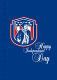 День независимости приветствуя Карточк-американского патриота держа винтовку штифта иллюстрация вектора