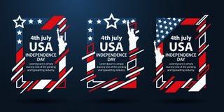 День независимости США Графики современного искусства Динамические вертикальные рамки, стильная предпосылка 4-ый из комплекта в и Стоковое фото RF