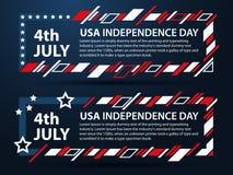 День независимости США 4-ый из комплекта в июле рамок для текста Графики современного искусства Динамические горизонтальные рамки Стоковое Изображение