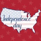 День независимости, флаг и карта надписи Соединенных Штатов Америки Стоковое Изображение