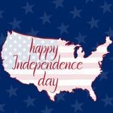 День независимости, флаг и карта надписи счастливый Соединенных Штатов Америки Стоковое Изображение RF