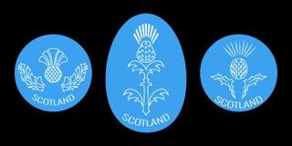 День независимости Шотландии 24-ое июня Вокруг и овальная эмблема с thistle Черная предпосылка Стоковое Изображение
