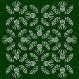 День независимости Шотландии 24-ое июня Орнамент цветков thistle Текстура ткани темнота предпосылки - зеленый цвет Стоковая Фотография