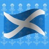 День независимости Шотландии 24-ое июня флаг Шотландия Предпосылка Grunge с чертежами thistle Стоковое фото RF