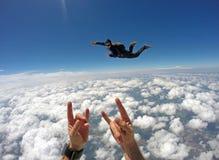 День облака Skydiving тандемный стоковое фото rf