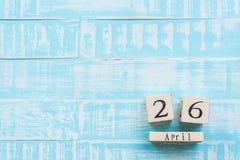День 26-ое апреля интеллектуальной собственности мира, деревянный календарь блока Стоковая Фотография